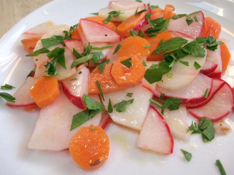 Kohlrabi Radish and Carrot Ceviche Salad