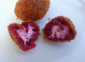 Beet and goat cheese arancini30