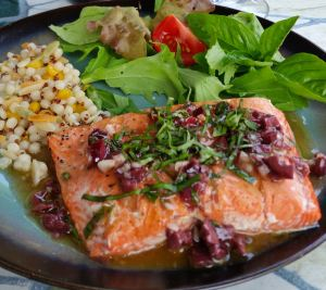 Salmon with Basil Olive Vinaigrette-plated